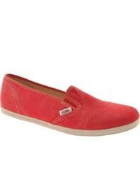 Vans Washed Slip On Lo Pro Red Canvas Shoes