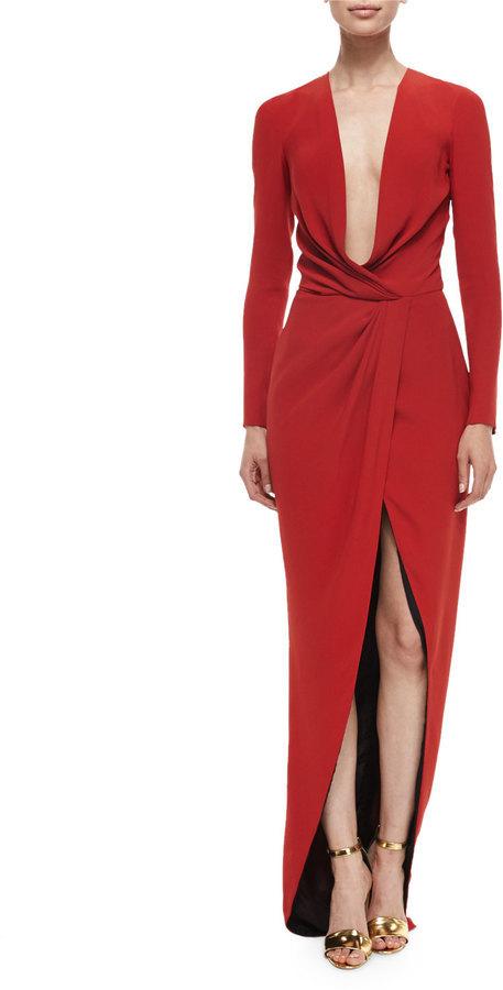 J. Mendel J. Mendel Long-Sleeve Draped Silk Wrap Gown | Where to buy ...