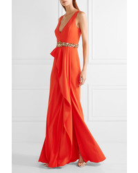 fde74a64 Marchesa Notte Ruffled Embellished Crepe Gown Tomato Red, $895 | NET ...