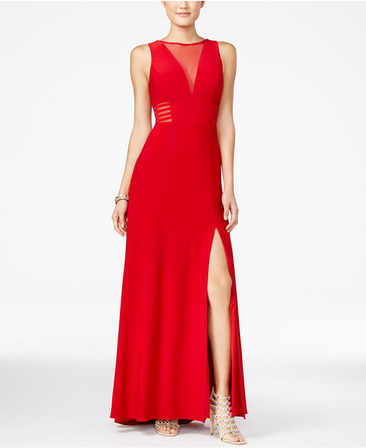 Morgan Company Juniors Illusion Front Slit A Line Gown | Where to ...