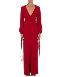 Monique Lhuillier Tie Cuff Gown Red