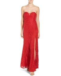 Red Slit Lace Evening Dress