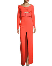 Adalene long sleeve belted maxi dress red medium 6448014