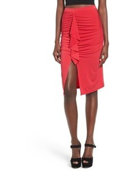 Red Slit Midi Skirt