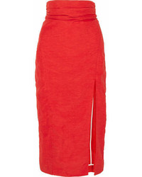Car March Taffeta Midi Skirt Red