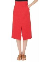 High waist a line cotton stretch denim midi skirt with slits medium 6993306