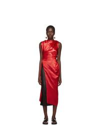 Marni Red Satin Tunic Blouse