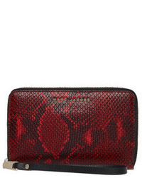 Red Snake Leather Clutch