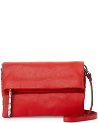 Neiman Marcus Snake Embossed Fold Over Crossbody Bag Red