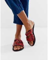 ASOS DESIGN Frankie Leather Ring Detail Flat Sandals