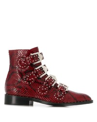 Givenchy Snakeskin Effect Buckled Ankle Boots