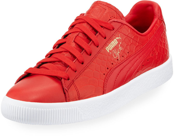 the best attitude d3086 c5105 $79, Puma Clyde Snake Embossed Sneaker Red