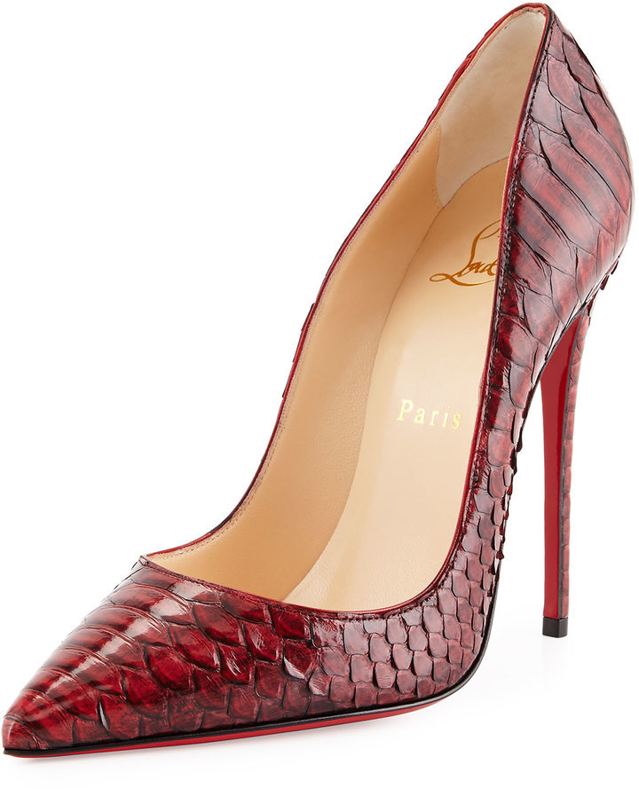 quality design b2d03 2b3c1 $1,395, Christian Louboutin So Kate Python Red Sole Pump Red