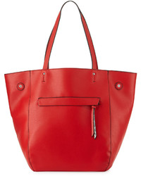 Red Snake Leather Tote Bag