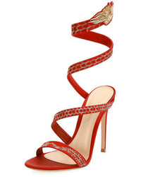 Gianvito Rossi Dragon Ankle Wrap 105mm Sandal Red