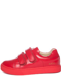 Akid Childrens Shoes Akid Axel Leather Low Top Sneaker Red Toddleryouth