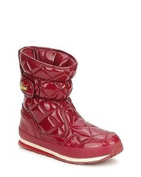 Rubber duck sporty quilted snowjogger red patent snow boots medium 128251