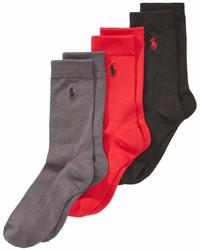 Polo Ralph Lauren 3 Pk Supersoft Flat Solid Crew Socks Little Boys Big Boys