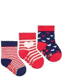 Jo-Jo Jojo Maman Bebe 3 Pack Heart Socks Redcream Stripe 6 12 Months