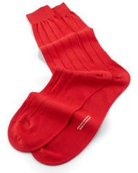 Mid calf solid sea island ribbed socks scarlet medium 32075