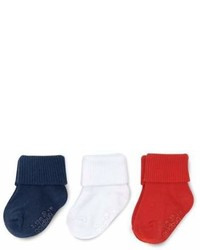 Gold Bug On The Goldbugtm 3 Pack Folded Cuff Socks In Navywhitered