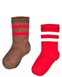 Mini Rodini Pack Of 2 Brown And Red Striped Socks