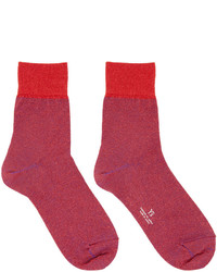 Y's Red Metallic Socks