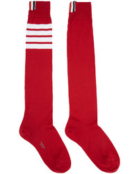 Thom Browne Red Ribbed Knee High Four Bar Socks