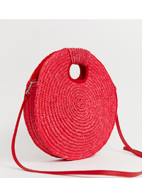 South Beach Bright Red Straw Cross Body Bag With Grab Handle
