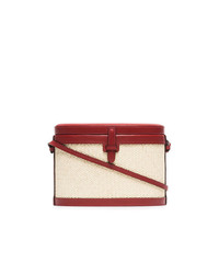 Hunting Season Red And Beige Trunk Woven Straw And Leather Bag