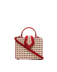 Mehry Mu Red Fey Small Suede Straw Box Bag