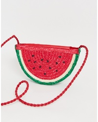 Pull&Bear Watermelon Straw Bag In Pink