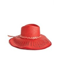 Nordstrom Holey Floppy Hat Red One Size