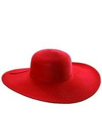 Scala summer big brim sun hat red one size medium 80680