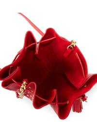 40a5ab54393e ... Saint Laurent Monogram Small Star Studded Bucket Bag Red