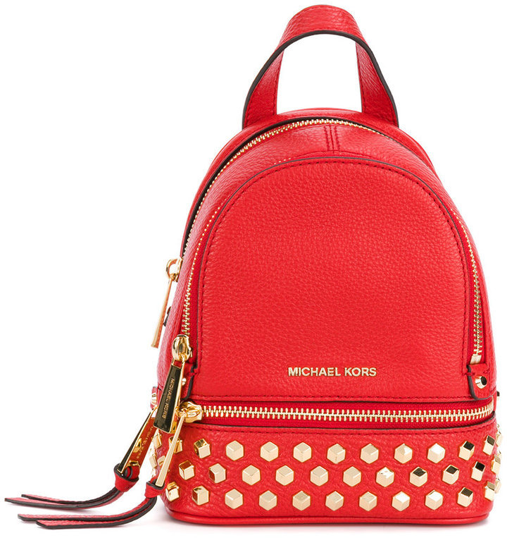 e7a05c2c453f ... Red Studded Leather Backpacks MICHAEL Michael Kors Michl Michl Kors  Rhea Studded Backpack
