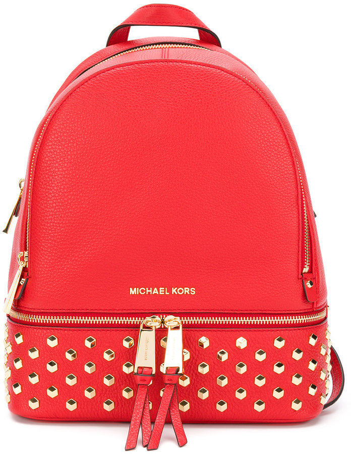 de71497b4027 ... Red Studded Leather Backpacks MICHAEL Michael Kors Michl Michl Kors  Rhea Studded Backpack ...