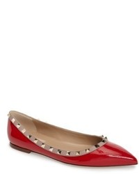 Red Studded Leather Ballerina Shoes