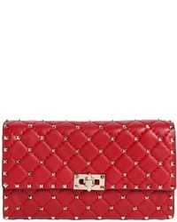 Valentino spike quilted studded leather clutch medium 1048385