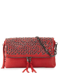 Red Studded Leather Crossbody Bag