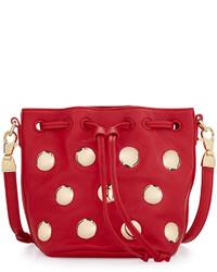 Cynthia Rowley Paisley Studded Leather Crossbody Bag Red
