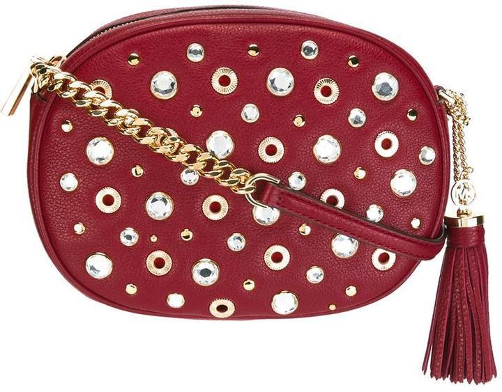 Red Studded Leather Crossbody Bags Michael Kors Michl Bag
