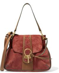 Chloé Lexa Studded Leather Trimmed Suede Shoulder Bag Brick