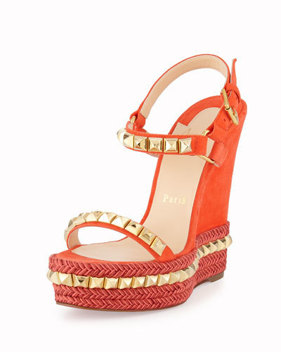 508b5beea62 $795, Christian Louboutin Cataclou Studded Suede Red Sole Wedge Sandal  Capucinegold