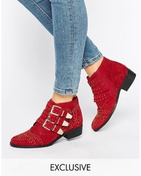 Office Alloy Stud Red Suede Ankle Boots