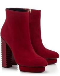 Aperlaï Aperlai Red Suede Kate Boots