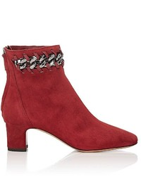 Valentino Garavani Chain Embellished Suede Ankle Boots