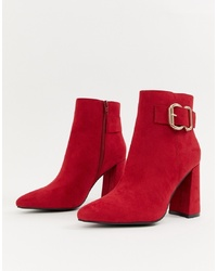 New Look Detail Heeled Boot In Red