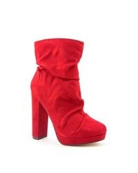 Michael Antonio Michl Antonio Malone Red Faux Suede Fashion Ankle Boots