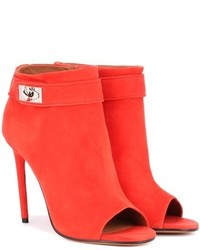 Givenchy Shark Suede Peep Toe Ankle Boots